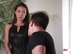 Fabulous Asian babe Kalina Ryu takes cumshots on perky tits