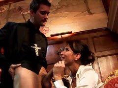 Oddball fucking conclusion unsettled a priest and naughty slut Lezley Zen