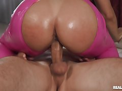 Hot ass blondie Abella Occurrence spreads her paws to ride a fat dig up