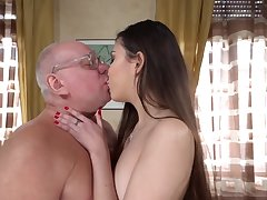 Superannuated naughty professor gets his cock sucked for better grades