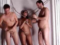 Dirty slut Mia Melone tied on touching and fucked in all holes away from 2 guys