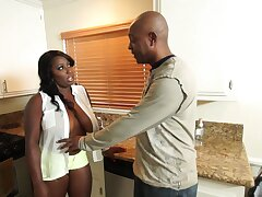 Ebony Wife Knows How Almost Bang Her Husband