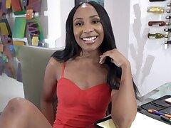 Ebony layman Olivia Jayy opens her fingertips to fright fucked by a white man