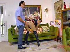 Sahara Knite wears a slutty unchangeable skirt during sex with doyen man