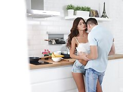 Loved botheration babe reveals her thin curves for a nice kitchen fuck