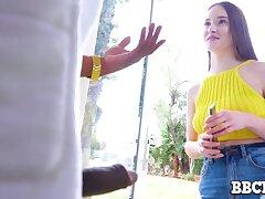 BBC neighbor bangs sweet looking teen with undersized tits and scrawny body Hazel Moore