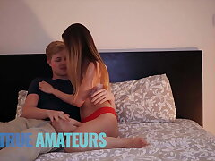 Small tit Jamie gets creampied by bf in amateur sextape