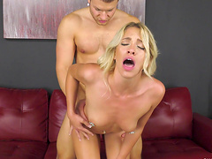Teen blonde Khloe Kapri rides cock and opens her mouth for a cum shot