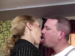 Skinny mature materfamilias gets anal sex and drinks take a piss