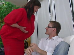 Big Grandmother fucked unconnected with young suitor
