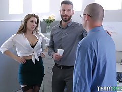 Gung-ho rendezvous babe Lena Paul hooks up with one of her co-workers