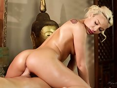 Appealing babe with juicy contraband Carmen Caliente rides strong cock during massage