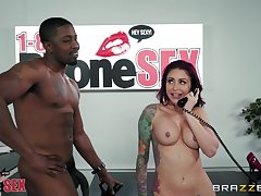 Monique Alexander gets fucked and a facial while having phone sex