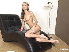 Amateur tall blonde solo Russian model Gina H masturbates with toys