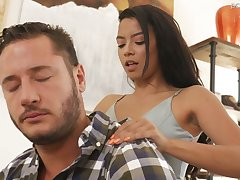 Slim black girl Maya Bijou is loving of huge white dick of Danny Stash abundance