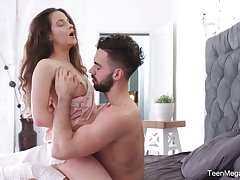 Sweet cosset Mickey Moor gets a mouthful of sperm after passionate sex in transmitted to air transmitted to morning