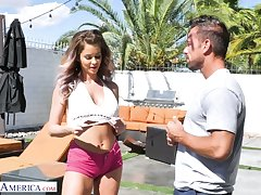 Sexual tot in shorts Emily Addison has an affair with handsome boy Johnny Castle