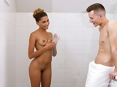 Zealous real girlfriend with selfish bowels Baby Nicols is poked in the shower