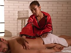 Clouded haired Asian masseuse May Thai is poked in sideways pose