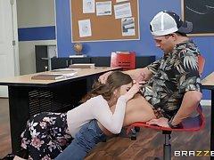 Nicole Aniston plus the brush friend enjoy threesome in the classroom