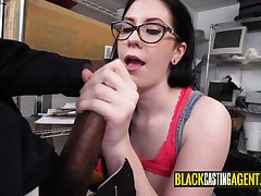 Horny nerd girl gets fornicateed by a black guy