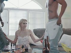 Scrawny blonde with small tits Chloe Cherry gets double penetrated