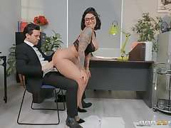 Sexy secretary Devon Lee enjoys sex with her adscititious in her office