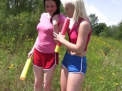 A handful of stunning girls are eating each others pussies in be passed on field in hour