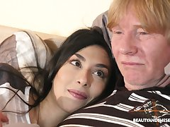 Ardent brand-new dark haired gal Ashely Ocean wakes up older man to be fucked