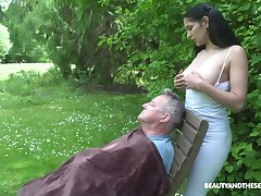 18 yo sitter Ava Black gives a blowjob with regard to old fart and gets laid in the garden