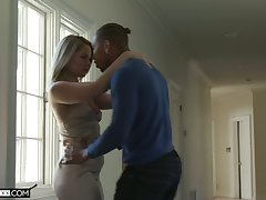 Lecherous white newborn Lisey Sweet is sexual relations with her black boyfriend