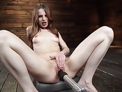 Long haired unskilled Jillian Janson masturbates her pussy with a vibrator