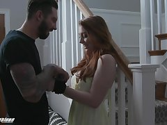 Ginger girl Arietta Adams gives her head and gets fucked nearby different positions