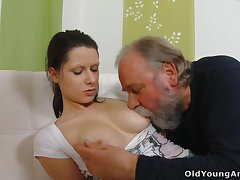 Naughty young sheila Irene is seduced by plump gaffer who wanna fuck her