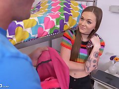 Stepbro catches his dick loving stepsis theft money and has to pay the price