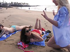 Exhibitionistic baby enjoying some quality time with her friends mainly the beach