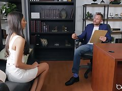 Petite model Gianna Dior fucked above be passed on office table by a taking guy
