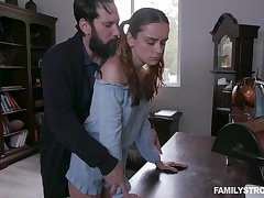Green with envy stepdad spanks increased by fucks pretty ginger stepdaughter Lily Glee