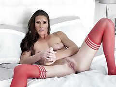 Needy woman in red stockings, first webcam pussy interior