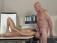 Old guy fucks younger student and cums inside their way mouth