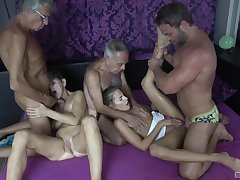 Hot granny craves for these two beamy dicks in her privy holes