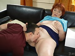 Granny loads will not hear of fat pussy with the nephew's energized dick