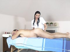 Papa receives massage and sex from horny masseuse