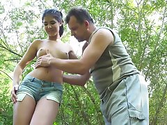 Yum-yum teen Lady Dee is fucked by kinky married guy in the bushes