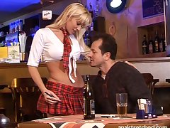 Good looking mart Cindy Dollar in miniskirt fucked in all holes
